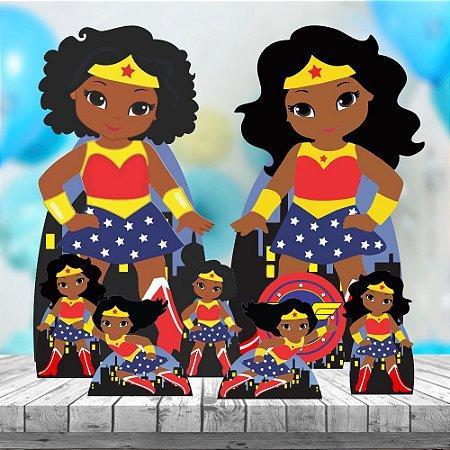 Kit 8 Display Mulher Maravilha Cute Negra Festa Aniversário