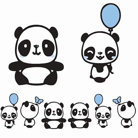 Kit 8 Totem Display Panda Menino Cute Festa Aniversário