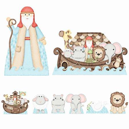 Kit 8 Totem Display Arca De Noé Animais Festa Aniversário