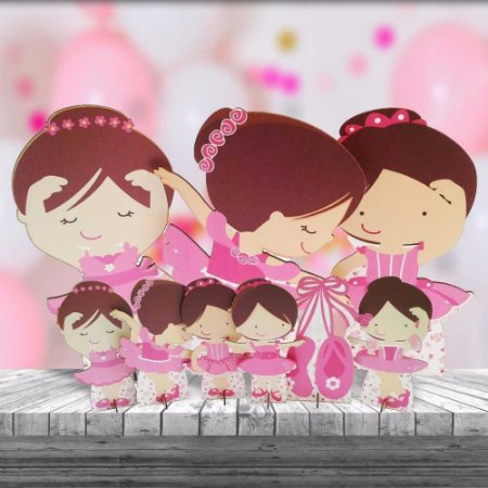 Kit 9 Und Festa Infantil Totem Completo Mdf Bailarina