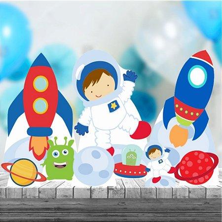 Kit 9 Totem Chão Mesa Astronauta Lua Aniversario Mdf
