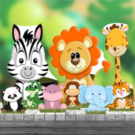 Kit 9 Totem Festa Safari Baby Display Decoração Mdf