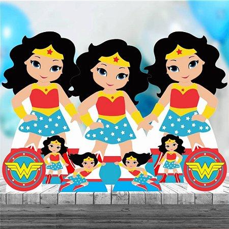 Kit 9 Festa Completo Mulher Maravilha Cute Aniversário Mdf