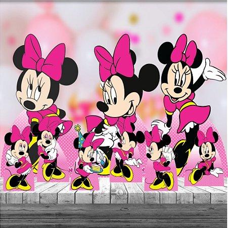 Kit 9 Festa Completa Minnie Rosa Totem Display Mdf