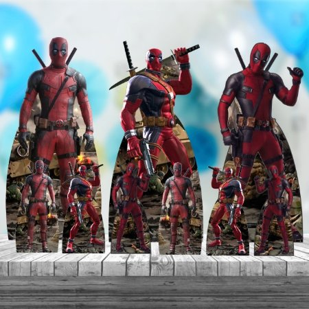 Kit 9 Deadpool Totem Display Centro Mesa Chão