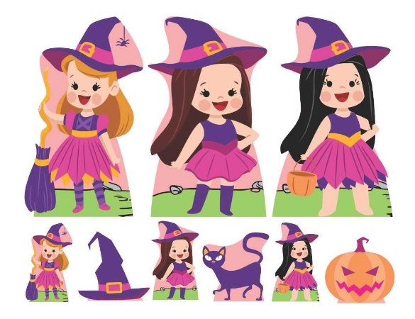 Totem Kit 9 Display Completo Mdf Bruxinha Cute Halloween