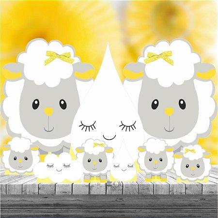 Kit 9 Festa Totem Display Aniversario Ovelha Amarela Cinza