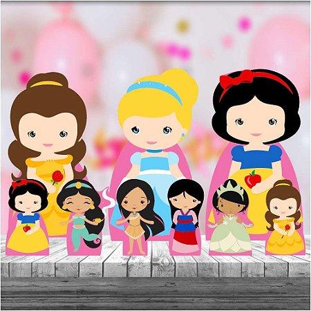 Kit 9 Totem Princesas Cute Display Festa Decoração Mdf