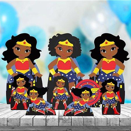 Kit 9 Festa Completo Mulher Maravilha Cute Negra Aniversário