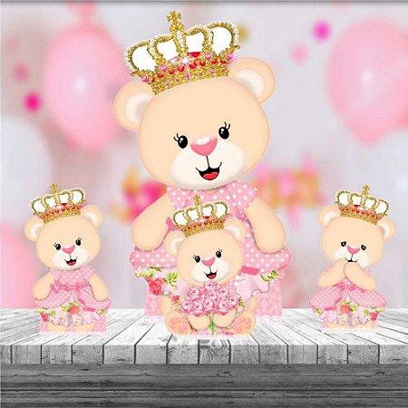 Kit 4 Totem Ursinha Princesa Decoração Festa