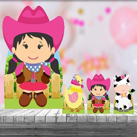 Kit 4 Totem Display Fazendinha Rosa Morena Decoração Festa
