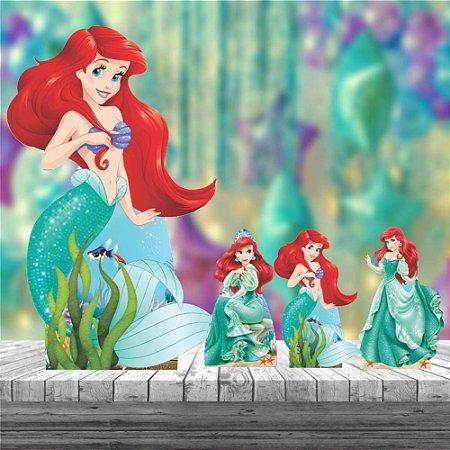 Kit 4 Totem Pequena Sereia Ariel Decoração Festa