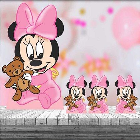 Kit 4 Totem Display Minnie Baby Cute Decoração Festa