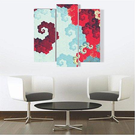 Quadro Mosaico Decoração Abstrato 3 Peças Mdf Mod 02