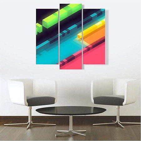 Quadro Mosaico Decoração Abstrato 3 Peças Mdf Mod 14