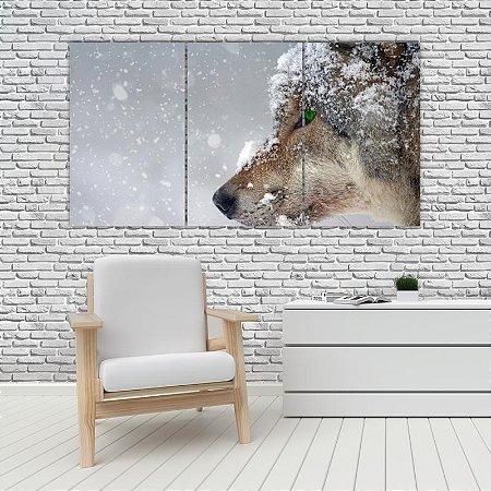 Quadro Mosaico Decoração Animal 121x65 com 3 Peças Mod 01