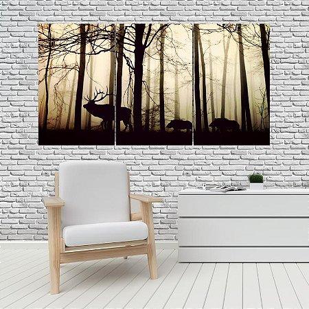 Quadro Mosaico Decoração Animal 121x65 com 3 Peças Mod 13
