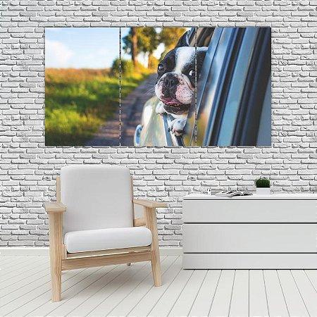 Quadro Mosaico Decoração Animal 121x65 com 3 Peças Mod 18