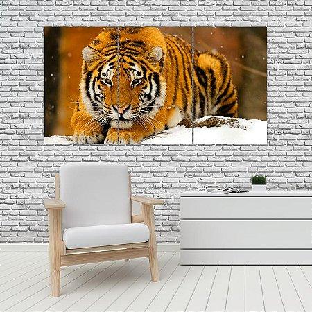 Quadro Mosaico Decoração Animal 121x65 com 3 Peças Mod 22