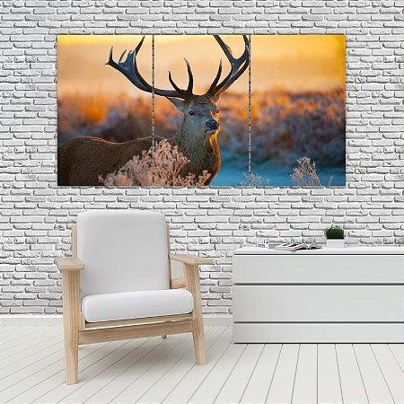 Quadro Mosaico Decoração Animal 121x65 com 3 Peças Mod 23