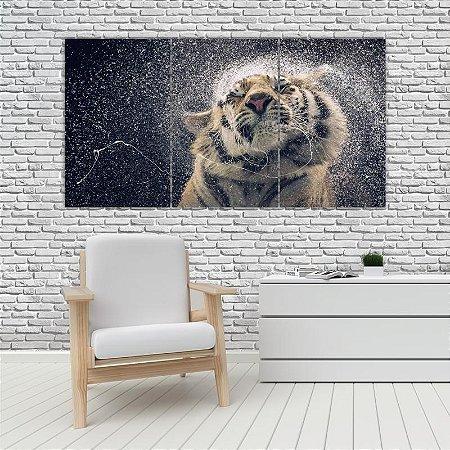 Quadro Mosaico Decoração Animal 121x65 com 3 Peças Mod 30