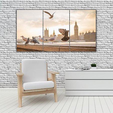 Quadro Mosaico Decoração Animal 121x65 com 3 Peças Mod 33