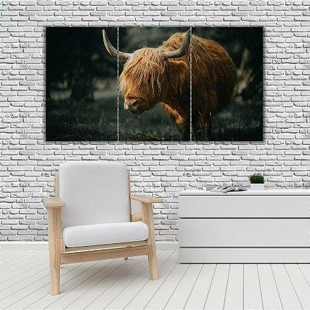 Quadro Mosaico Decoração Animal 121x65 com 3 Peças Mod 45