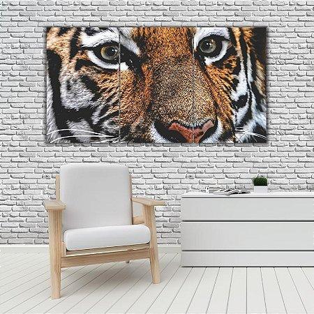 Quadro Mosaico Decoração Animal 121x65 com 3 Peças Mod 55