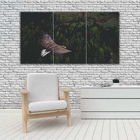 Quadro Mosaico Decoração Animal 121x65 com 3 Peças Mod 60