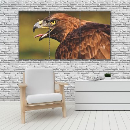 Quadro Mosaico Decoração Animal 121x65 com 3 Peças Mod 61