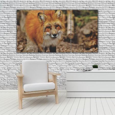 Quadro Mosaico Decoração Animal 121x65 com 3 Peças Mod 66