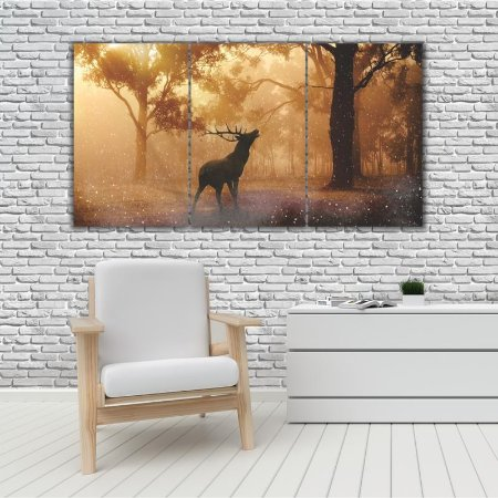 Quadro Mosaico Decoração Animal 121x65 com 3 Peças Mod 67