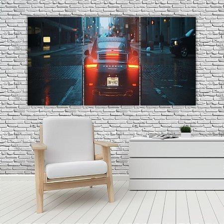 Quadro Mosaico Decoração Carros 121x65 com 3 Peças Mod 07