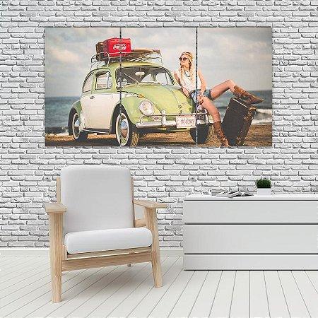Quadro Mosaico Decoração Carros 121x65 com 3 Peças Mod 09