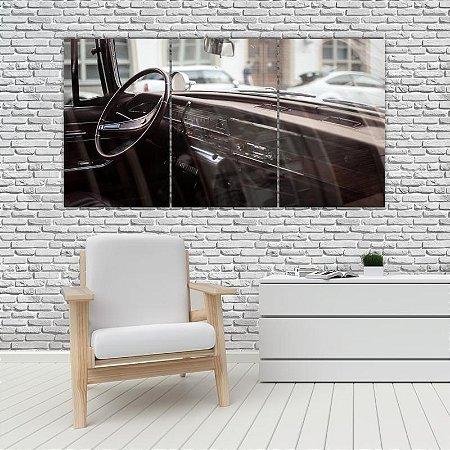 Quadro Mosaico Decoração Carros 121x65 com 3 Peças Mod 27