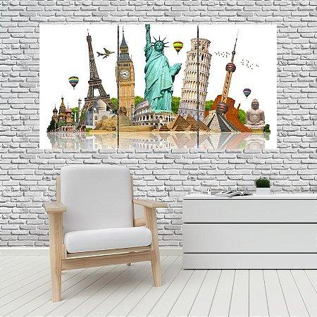 Quadro Mosaico Decoração Cidades 121x65 com 3 Peças Mod 01