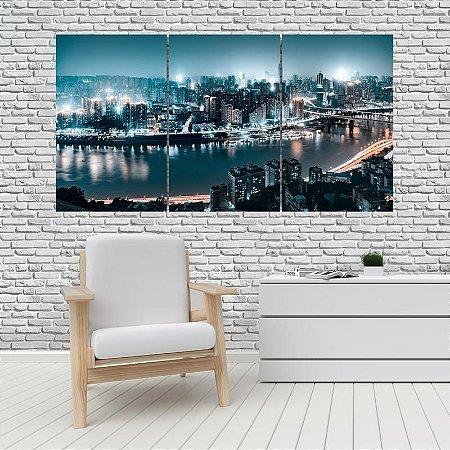 Quadro Mosaico Decoração Cidades 121x65 com 3 Peças Mod 03
