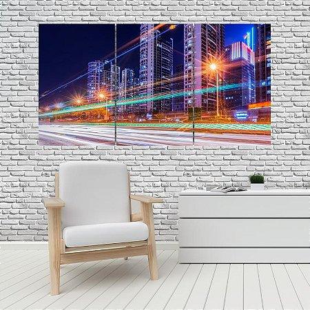 Quadro Mosaico Decoração Cidades 121x65 com 3 Peças Mod 04