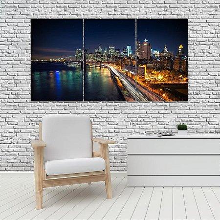 Quadro Mosaico Decoração Cidades 121x65 com 3 Peças Mod 11