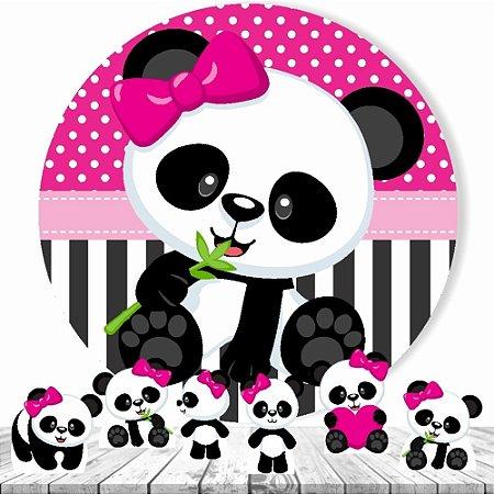 Painel Tecido Redondo 1.30m + 6 Displays Panda Rosa Festa 01