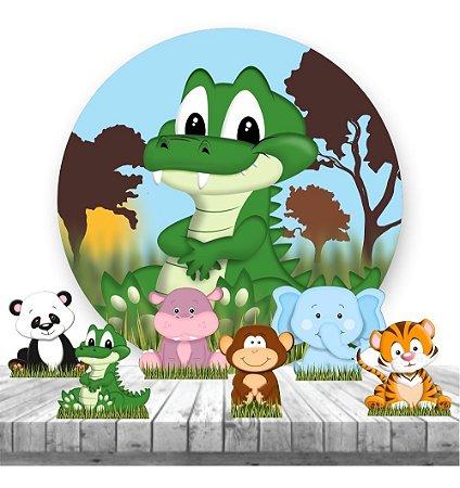 Painel Tecido Redondo 1.30m + 6 Displays Safari Selva 05