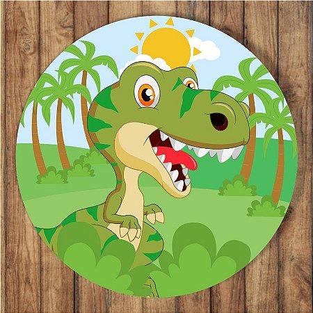 Painel Tecido Redondo Dinossauro Cute Decoração Festa 03