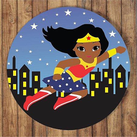 Painel Tecido Redondo Mulher Maravilha Negra Decoração Festa 05