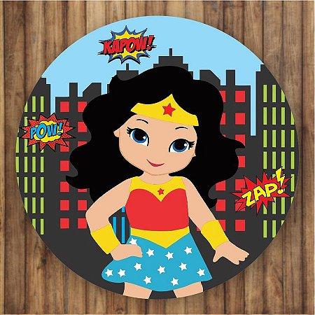 Painel Tecido Redondo Mulher Maravilha Cute Decoração Festa 03