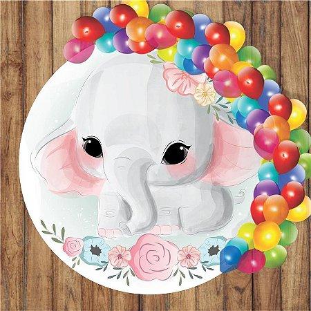 Painel Tecido Redondo Elefante Cute Decoração Festa 04