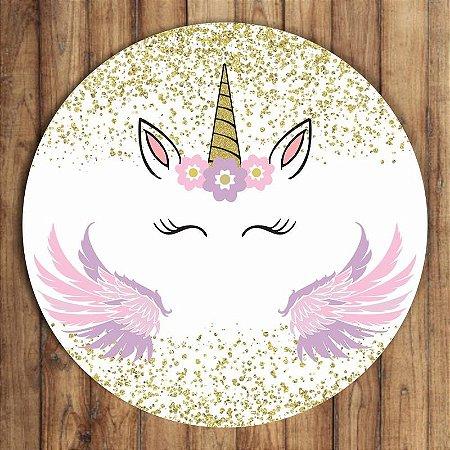 Painel Tecido Redondo Unicornio Decoração Festa 03
