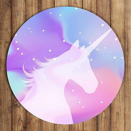 Painel Tecido Redondo Unicornio Decoração Festa 07