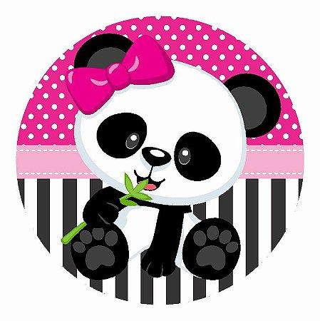 Painel Tecido Redondo Panda Menina Decoração Festa 01
