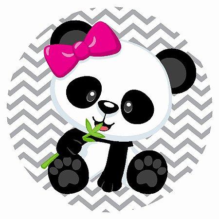 Painel Tecido Redondo Panda Menina Decoração Festa 03
