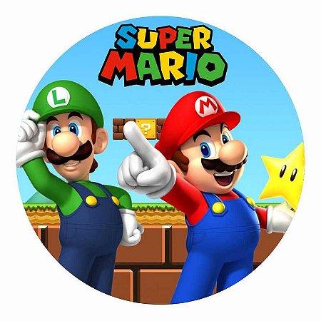 Painel Tecido Redondo Super Mario Decoração Festa 02